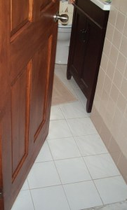 Floor Tile Grout matches wall tiles_New Door_Vanity_Feb 2016